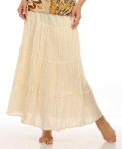 Le Mieux NWT Casual Cream Solid 5 Tiered Cotton Skirt Ankle Length Missy $9.99