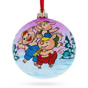 Three Little Pigs Glass Ball Christmas Ornament 4 Inches