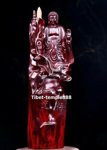 37cm India natural Lobular red sandalwood Sakyamuni Buddha Monk Backflow incense
