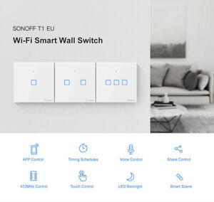 Sonoff T1 1/2/3 Gang US/EU Smart WIFI Touch Light APP Remote Panel Timing Switch