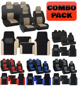 Polyester Car Seat Covers & PU Leather Trim Carpet Floor Mats for Auto Set