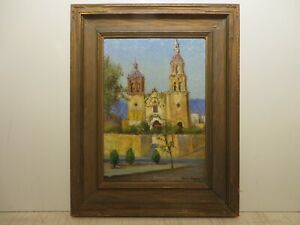 14x10 org. 1935 oil painting by Rolla Taylor of St.Cecilia Villa Santiago Church