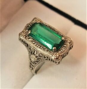 ANTIQUE 14K SIGNED A & S EMERALD GREEN DECO FILIGREE RING SIZE 6