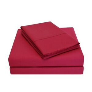 3-pc Twin Burgundy Percale Soft 100% Cotton Sheet Set 300 Thread Count