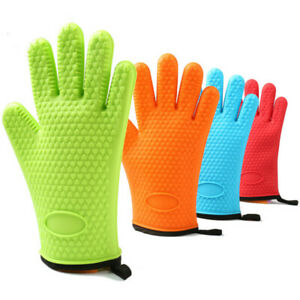 Kitchen Heat Resistant Silicone Glove Oven Mitts Pot Holder Baking BBQ Cooking