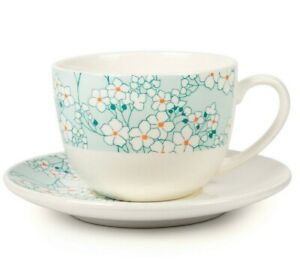 8 fl oz Porcelain Tea Cup and Saucer with Floral Pattern in Turquoise Blue