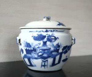 VERY RARE CHINESE ANTIQUE BLUE AND WHITE PORCELAIN TEA CADDY JAR QING DYNASTY