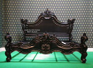 UK King 5' MATT BLACK Gothic designer Baroque Mahogany carved wooden French Bed