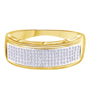 Simulated Diamond Wedding Band Ring 18K Yellow Gold Plated 0.50 Cttw