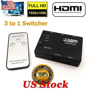 HDMI 3Port Switcher Splitter Hub With IR Remote 1080p For PS3 PS4 Xbox One HDTV