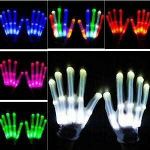 Electro LED Finger Flashing Gloves Light Up Halloween Dance Rave Party Toys US