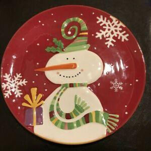 Snowman Christmas Serving Plate and 2 Coffee Mugs & Spoon Rest