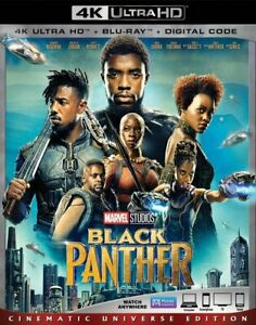 Black Panther (4K Ultra HD Blu-ray+Blu-ray+Digital) NEW 2-Disc Set Free Shipping