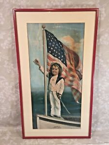 Antique Victorian Painting Entitled quot;Our Flag Always in Frontquot; WWI Era Frame $458.50