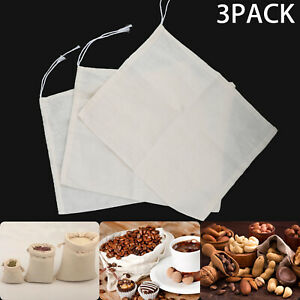 3X Reusable Fine Mesh Cotton Nut Milk Cheese Cloth Bag Cold Brew Coffee Filter