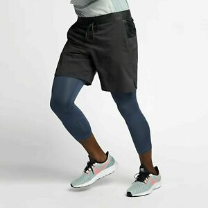 Nike Tech Pack 2 In 1 Running Shorts 34 Length Gray Blue AR9823 Small