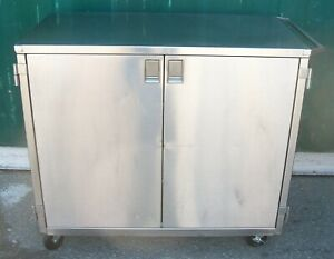 Blickman Stainless Steel Medical Surgical Case Cart. Double Door. 2 Shelves.