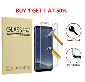 2 Pack Full Cover Tempered Glass Protector F Samsung Galaxy S8 S9 Plus Note 8 S7