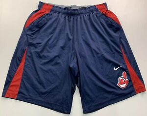 Men's Nike Dri-Fit Cleveland Indians Chief Wahoo Athletic Shorts Size XXL Navy