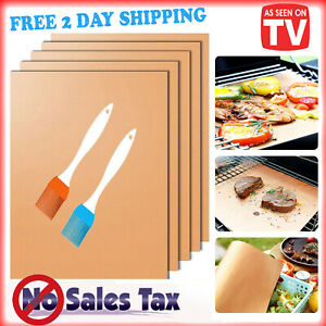 5 Non-stick BBQ Grill & Baking Mats As Seen On TV Copper Reusable + 2 Brushes