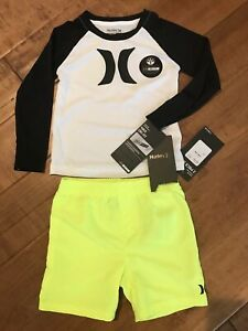 Hurley Baby Boys' Nike Dry Fit Shirt and Shorts 2-Piece Set Size 24  Months