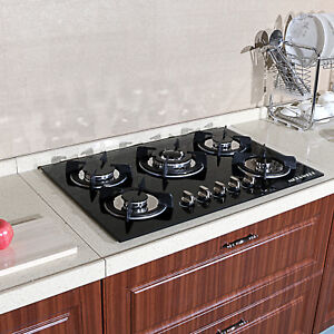 Blk Cook Top 30quot; Tempered Glass Built in 5 Burner Stove LPG NG Gas Hob Cooktops $219.99