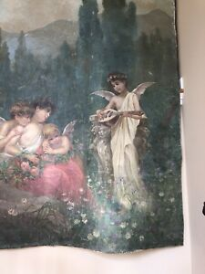 """Antique Canvas Painting Tapestry CHERUBS Angels in Garden Roses Shabby 98"""" X 69"""" $4750.00"""
