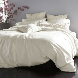 Donna Karan Silk Essentials Collection Full Queen Duvet Cover Pearl Ivory $1125 $399.99