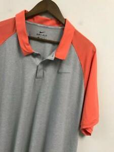 F29 Mens Nike Dri-Fit Tour Performance Casual Polo Golf Shirt Size 2XL Gray Orng