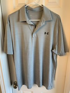 NEW Under Armour HeatGear Loose Silver Gray Golf Polo Shirt Mens Large L