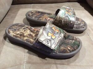 UNDER ARMOUR Camo 4D Foam SLIDES Shoes  ~ 7Y Youth ~ Mens 7 ~ Womens 8.5