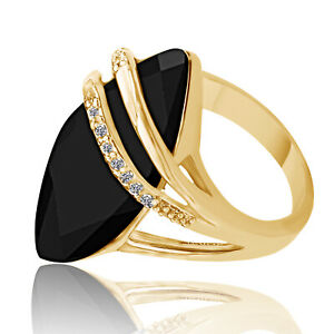 Christmas Special Created Onyx & CZ Accent 18k Gold-Plated Marquise Ring
