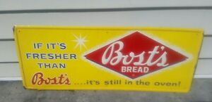 Vintage Original 1950's Bost's Bread Metal Sign NOS Rare!! Country Store