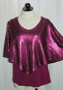 NWT Reba Winter Jewels Magenta Layered Sequined Cape Blouse Top Size Small $15.39