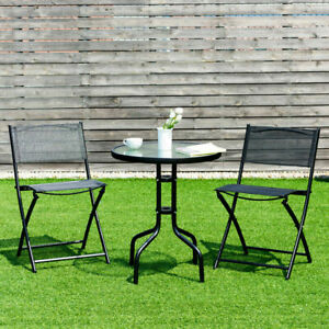 3 Piece Bistro Set Table Folding Chairs Garden Backyard Patio Outdoor Furniture