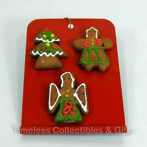 Vintage handpainted Gingerbread Cookies on Metal Red Tray Christmas Ornament New