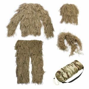 Hunting Woodland 3D Camo Bionic Sniper Ghillie Suit Tactical Camouflage Clothing