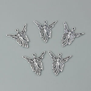 10Pcs Vintage Silver Angle Wing Fairy Charms Pendants for Earring Jewelry Making $4.65