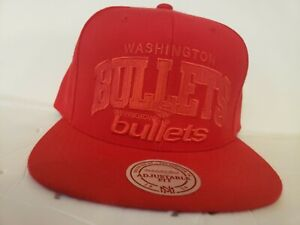 Mitchell & Ness Washington Bullet's HWC Solid Red Snapback Adjustable Cap Hat