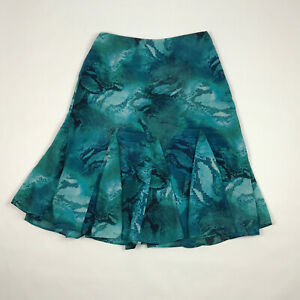Chicos Skirt Lined Size 1 8 10 Teal Green Blue Snake Skin Knee Flared A Line $24.99