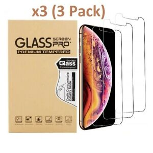 3 Pack For iPhone 11 Pro 6s 7 8 Plus X Xs Max XR Tempered GLASS Screen Protector