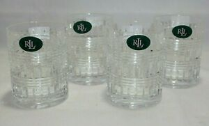Ralph Lauren Ettrick Crystal Double Old Fashion Glasses 10.8 Oz. Set of Four New