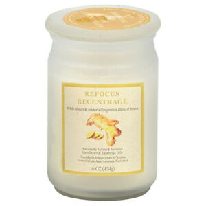 Essential Oil Infused White Ginger and Amber Candle