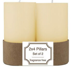 Ivory Unscented 2x4 Inch Pillar Candle 2 Pack