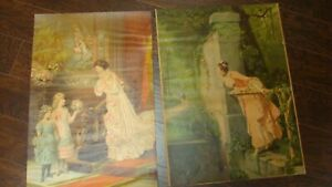 Pair of large antique victorian lithographs prints 23 inches tall $75.00