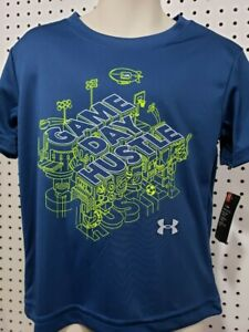 Boys Kids Youth Under Armour Shirt NEW Blue Game Day Hustle short sleeve Size 6 $8.95