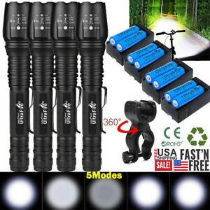 90000Lumens Tactical 5-Modes T6 Zoomable Focus 18650 LED Flashlight Torch Lights