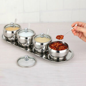 Stainless Steel Condiment Spice Jars Seasoning Box with Lid Serving +Spoon