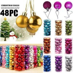 48PCS Christmas Xmas Tree Ball Bauble Home Party Ornament Hanging Decor 30mm New $6.49