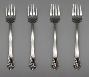 Oneida DAMASK ROSE Stainless Flatware Salad Forks * CUBE SET OF FOUR $16.99